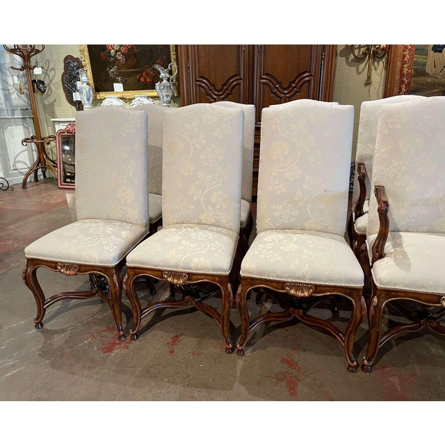 French Set of Eight Louis XV Style Carved Walnut Dining Chairs From Minton-Spidell For Sale - Image 3 of 13