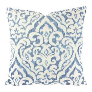 """Cowtan and Tout Taj in Blue Pillow Cover - 20"""" X 20"""" Blue and White Damask Cotton and Linen Print Cushion Case For Sale"""