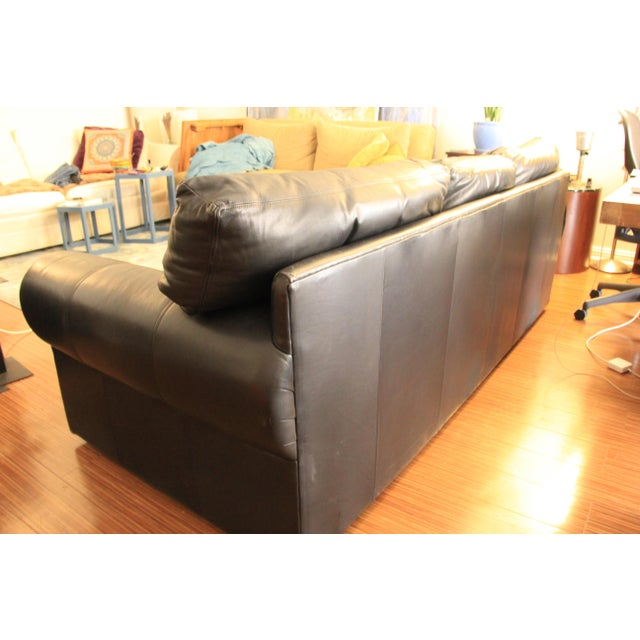 Maurice Villency Maurice Villency Down Filled Black Leather Sofa For Sale - Image 4 of 11