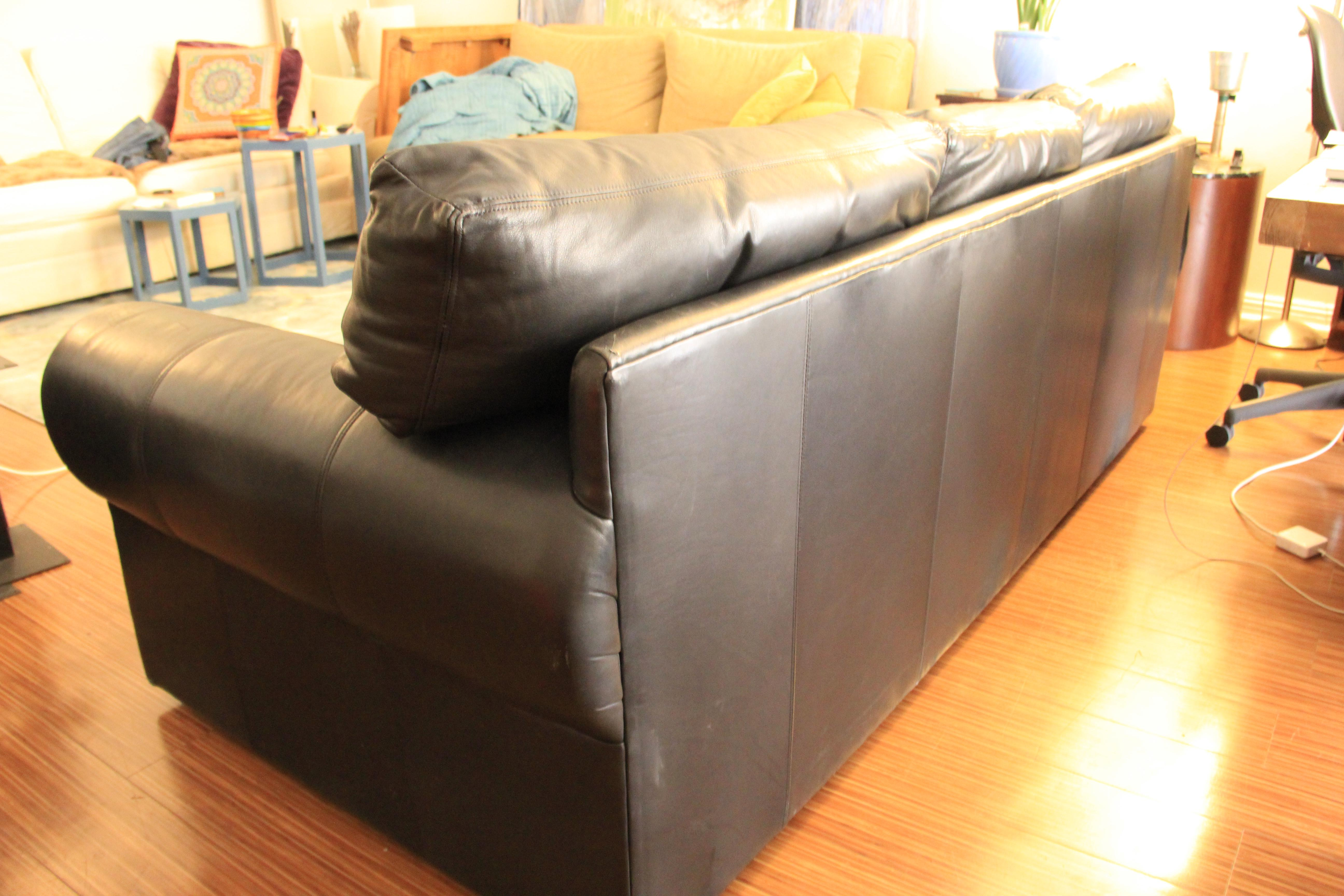 Exceptionnel Maurice Villency Down Filled Black Leather Sofa   Image 4 Of 11