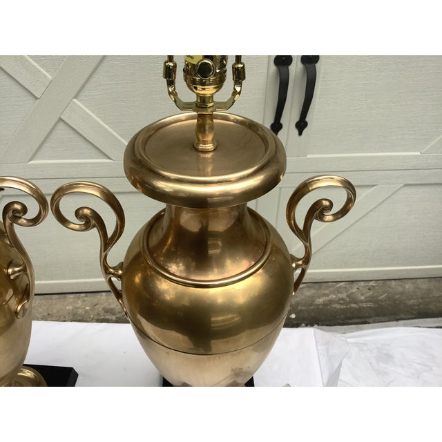 Brass Chapman Brass Urn Lamps, a Pair For Sale - Image 8 of 12