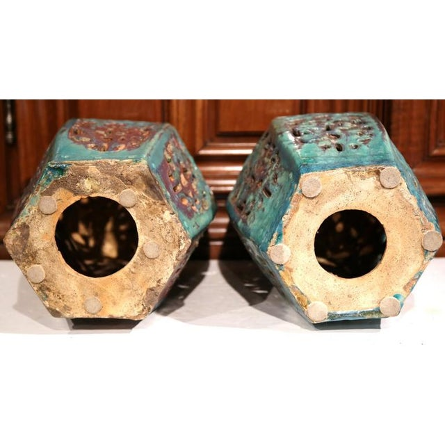 Early 20th Century Asian Green Porcelain Garden Stools - A Pair - Image 7 of 7