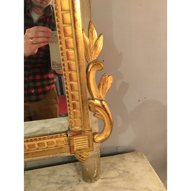 Gold Louis XVI Style Painted and Gilded Mirror For Sale - Image 8 of 11