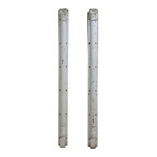 Antique Victorian Cast Iron Corinthian Fluted Column Architectural Salvage - a Pair For Sale