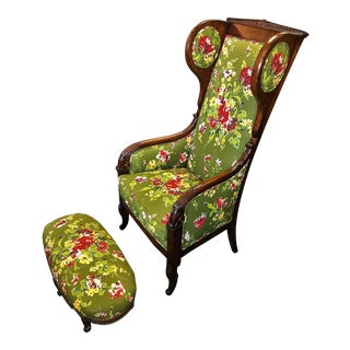 Vintage Mid Century Green and Butter Yellow Floral Upholstered Down-Filled Chair & Ottoman For Sale