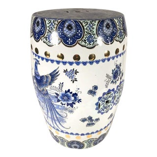 Chinoiserie Style White & Blue Ceramic Garden Painted Stool