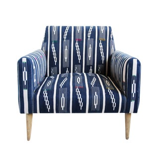 Indigo Ikat Adire Arm Chair