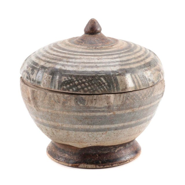 15th Century & Earlier Thai Sawankhalok Covered Earthenware Jar 14th/15th C. For Sale - Image 5 of 5
