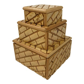 Bamboo Stacked Trinket Box Trio For Sale