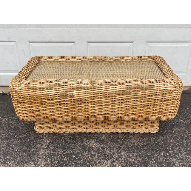 Wood Natural Woven Rattan and Glass Plinth Coffee Table For Sale - Image 7 of 8