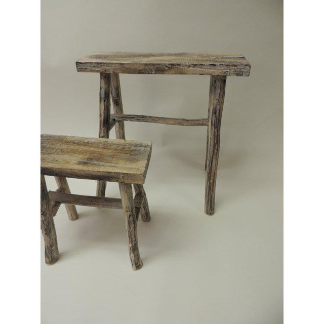Asian Vintage Asian White Washed Rubbed Wood Painted Artisanal Side Tables - A Pair For Sale - Image 3 of 8