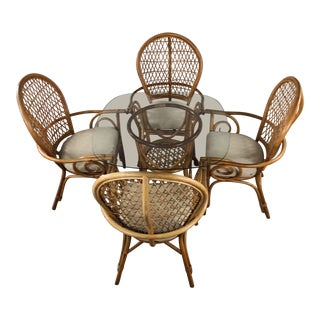 1960s Rattan Table and Chair Set, 5 Pieces