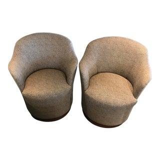J. Robert Scott Swivel Chairs in Original Nice Upholstery