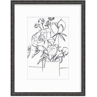 2019 Framed Floral Still Life Line Drawing by Christine Lindstrom For Sale