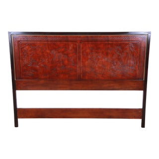 Drexel Heritage Mahogany and Brass Hollywood Regency Chinoiserie Queen Size Headboard For Sale