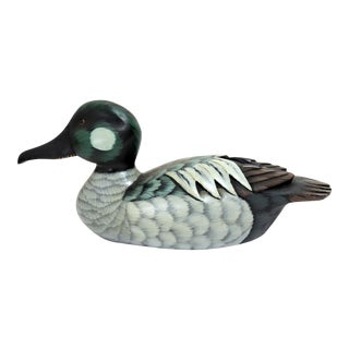 1970s Country Hand Painted Golden Eye Duck Decoy For Sale