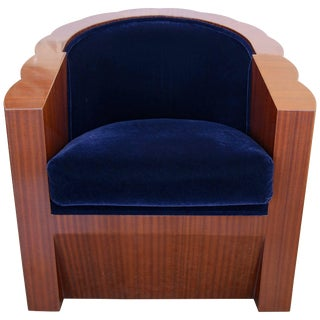 Art Deco Mahogany Club Chair with Blue Mohair Upholstery For Sale