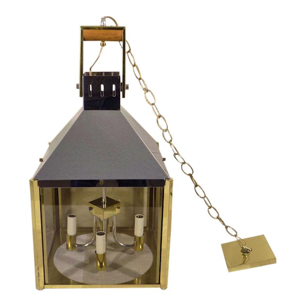 1970s Fredrick Ramond Post Modern Lantern Chrome & Brass Light Fixture For Sale