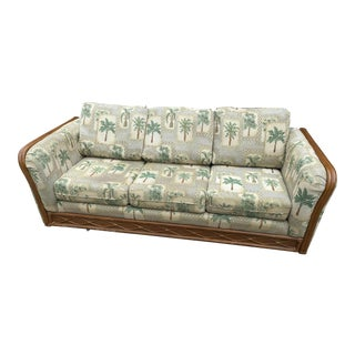 Bamboo Sofa With Palm Tree Upholstery For Sale