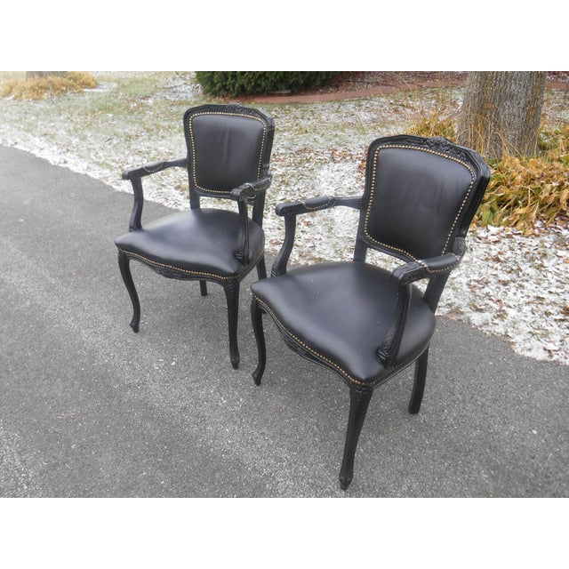 20th Century French Louis XV Style Black Leather Bergere Chairs - a Pair For Sale - Image 4 of 7