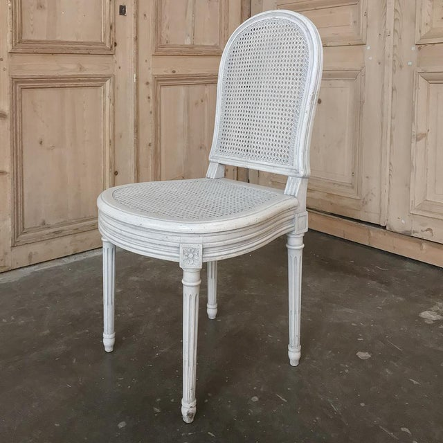 White Early 20th Century Antique French Louis XVI Painted Dining Chairs-Set of 8 For Sale - Image 8 of 13