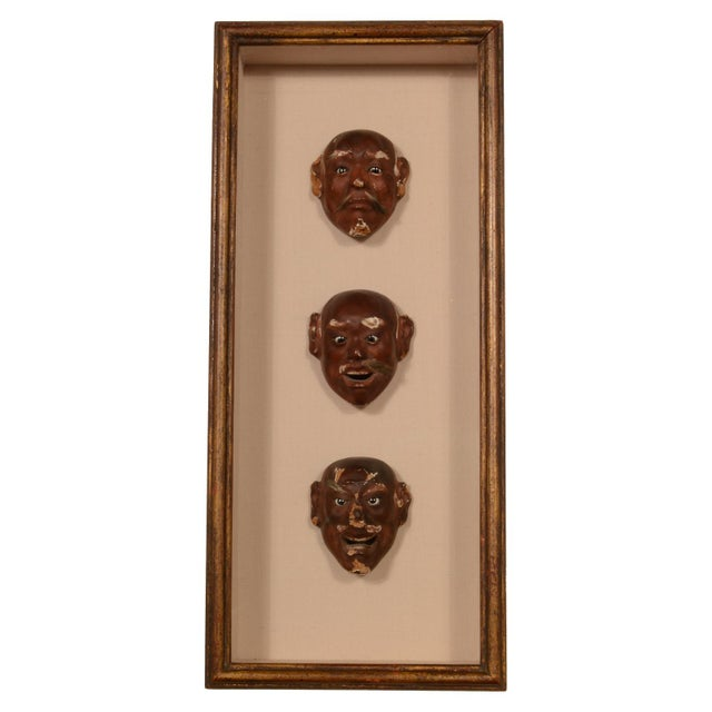 Antique Japanese Noh Mask Collection Framed Shadowbox For Sale - Image 12 of 12