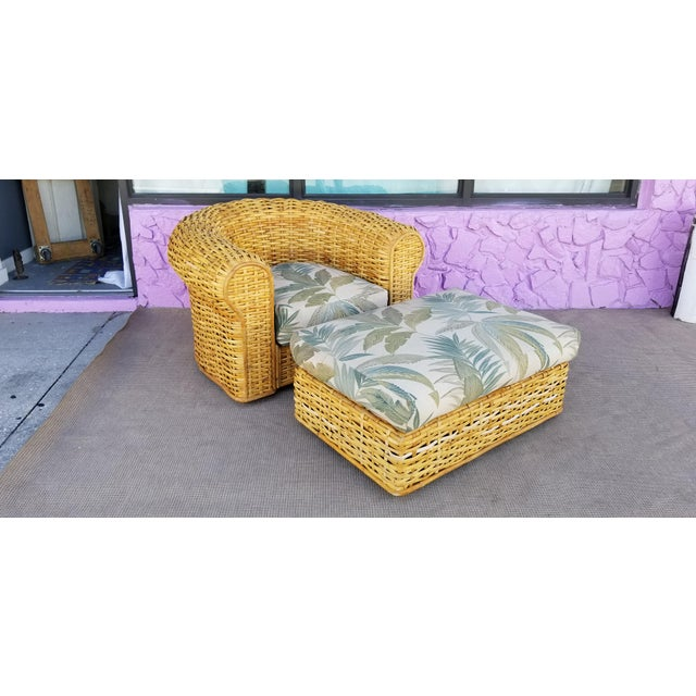 XL- Ralph Lauren Tropical Woven Rattan Chair and Ottoman For Sale - Image 13 of 13