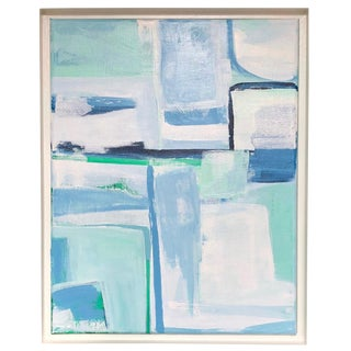 Contemporary Blue White & Green Abstract Original Painting