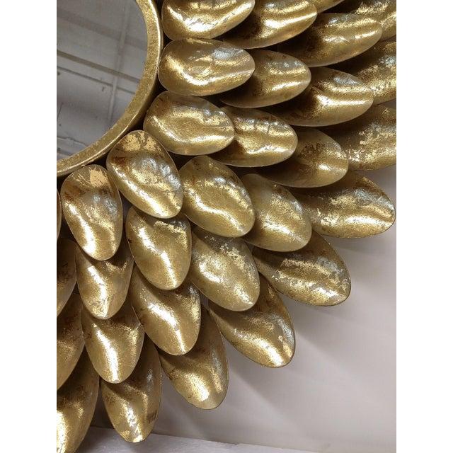 Gold Metal Sunburst-Style Mirror - Image 3 of 9