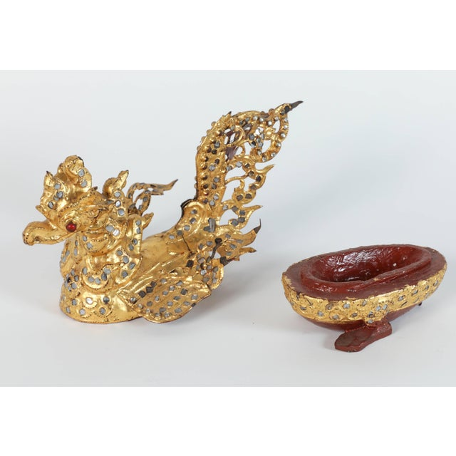 Hintha Burmese Bird-Shaped Betel Gold Lacquered Boxes - Set of 3 For Sale - Image 10 of 12