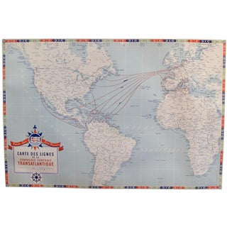 Original Vintage French North American Route Map, the French Line For Sale