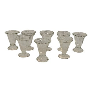 1920s Art Deco Mixed Matched Glass Ruffle Top Dessert Cups - Set of 8 For Sale