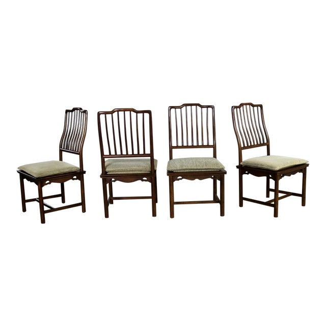 Four Drexel Heritage Chinoiserie Ming Style Spindle Back Dining Chairs For Sale