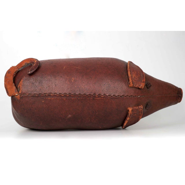 1960s Vintage Stitched Leather Pig Footstool by Dimitri Omersa for Abercrombie & Fitch - Image 7 of 11