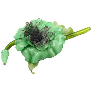 Cilea for Francoise Montague Paris Pin Brooch Resin Talosel Fresh Green Flower For Sale