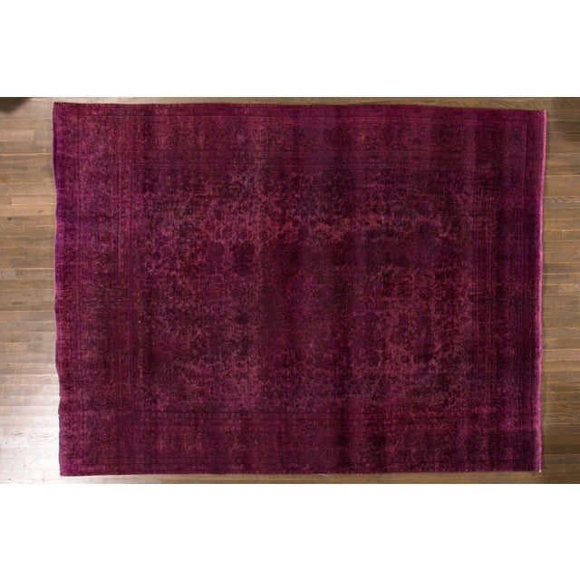 Mid 20th Century Mid 20th Century Vintage Overdyed Wool Rug For Sale - Image 5 of 6