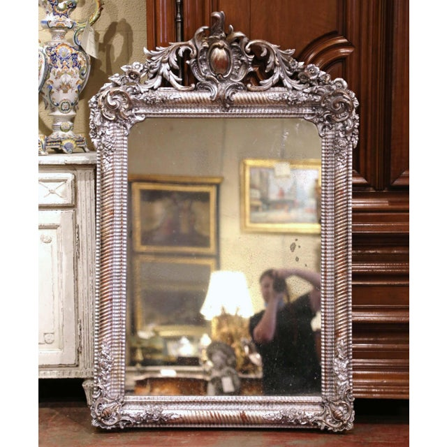 Mid-19th Century French Louis XV Hand Carved Silvered Wall Mirror For Sale - Image 11 of 11