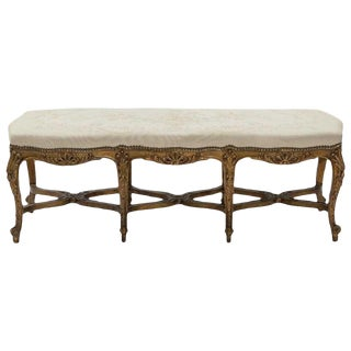 French Louis XV Style Carved Giltwood Bench, 19th Century For Sale