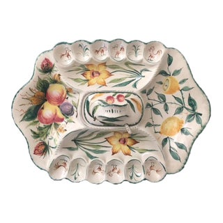 Vintage Hand-Painted Italian Ceramic Deviled Egg & Hors d'Oeuvre Platter For Sale