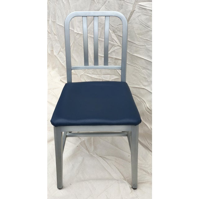 Silver Vintage GoodForm Aluminum Chairs With Navy Leather For Sale - Image 8 of 8