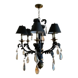 Vintage Hart Scrolled Leaf Chandelier With Crystal Drops and Black Shades For Sale