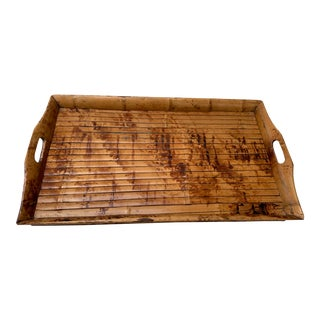 Vintage Over Sized Burnt Bamboo Tray For Sale