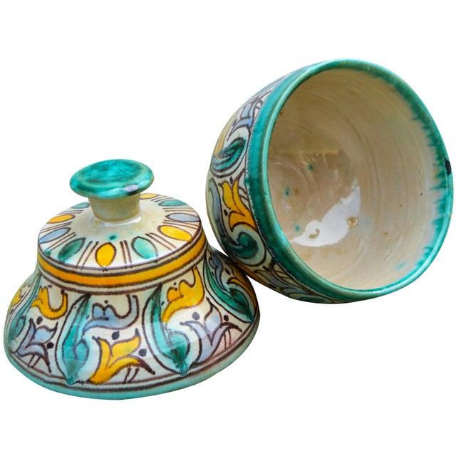 Teal Antique Moorish Ceramic Box For Sale - Image 8 of 11