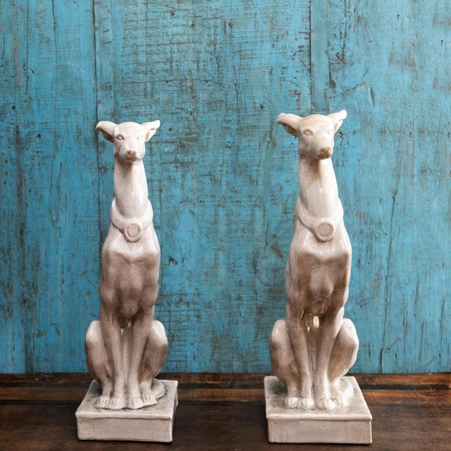 Ceramic Vintage Greyhound Statues-a Pair For Sale - Image 7 of 7