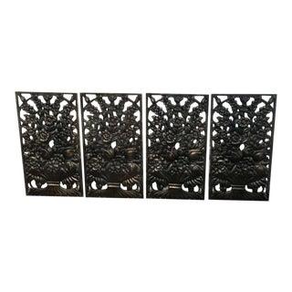 Art Deco Bronze Floral Motif Architectural Panel, For Sale