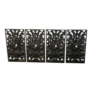 Art Deco Bronze Floral Motif Architectural Panel, Four Available For Sale