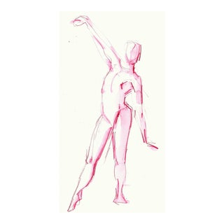 "Contemporary Pink Figurative Watercolor ""Pink Dance Reach"" by Michelle Arnold Paine For Sale"