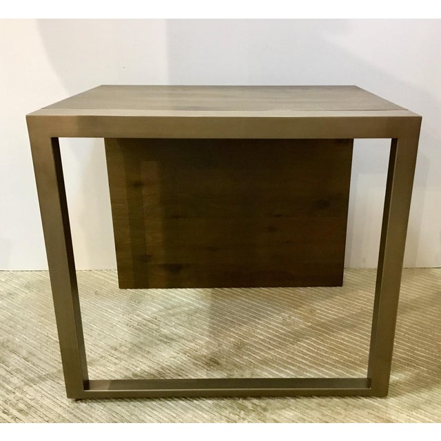 Stylish organic modern Caracole Artisan end tables pair, antique brass metal and a walnut finished wood, showroom floor...