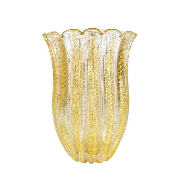 1940s Barovier Toso -Beautiful Murano Glass Vase -Cordonato Gold Flecks For Sale - Image 5 of 8
