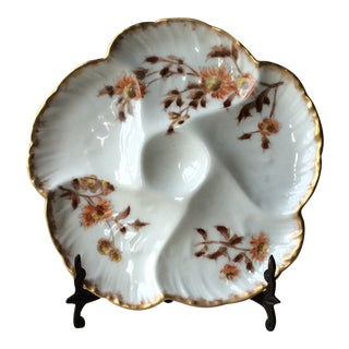 Late 19th Century Antique Limoges Porcelain Oyster Plate For Sale